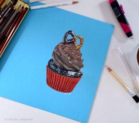 Cupcake on Blue